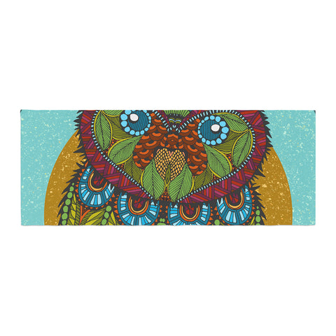 "Art Love Passion ""Owl"" Teal Multicolor Bed Runner - KESS InHouse"