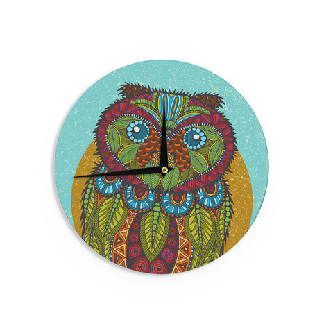 "Art Love Passion ""Owl"" Teal Multicolor Wall Clock - KESS InHouse"