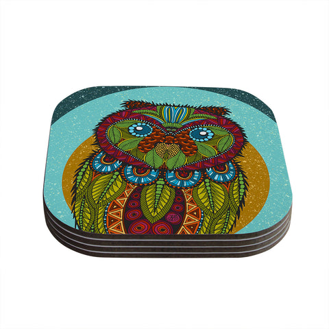 "Art Love Passion ""Owl"" Teal Multicolor Coasters (Set of 4)"