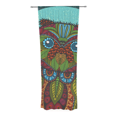 "Art Love Passion ""Owl"" Teal Multicolor Decorative Sheer Curtain - KESS InHouse  - 1"