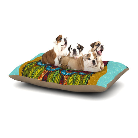 "Art Love Passion ""Owl"" Teal Multicolor Dog Bed - KESS InHouse  - 1"