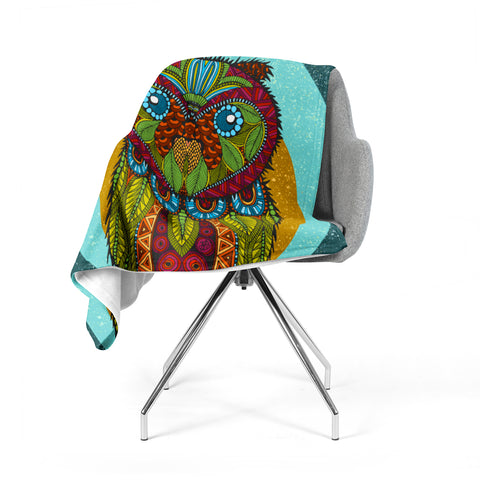 "Art Love Passion ""Owl"" Teal Multicolor Fleece Throw Blanket"