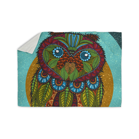 "Art Love Passion ""Owl"" Teal Multicolor Sherpa Blanket - KESS InHouse  - 1"