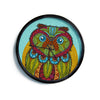 "Art Love Passion ""Owl"" Teal Multicolor Modern Wall Clock"