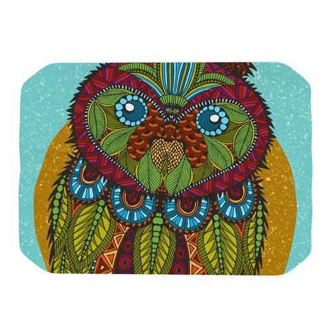 "Art Love Passion ""Owl"" Teal Multicolor Place Mat - KESS InHouse"