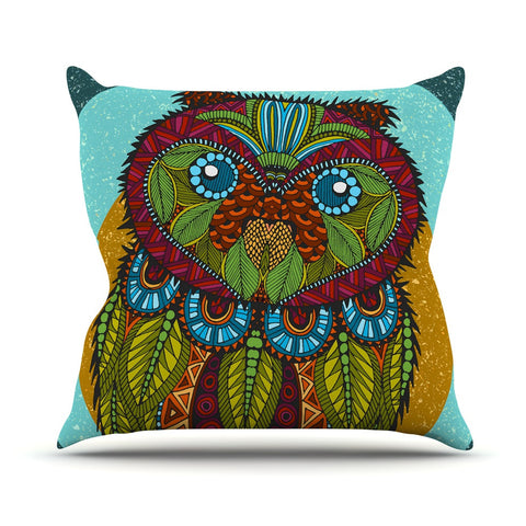 "Art Love Passion ""Owl"" Teal Multicolor Outdoor Throw Pillow - KESS InHouse  - 1"