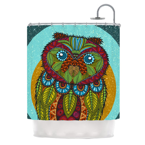 "Art Love Passion ""Owl"" Teal Multicolor Shower Curtain - KESS InHouse"