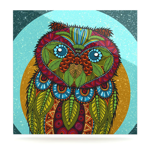 "Art Love Passion ""Owl"" Teal Multicolor Luxe Square Panel - KESS InHouse  - 1"