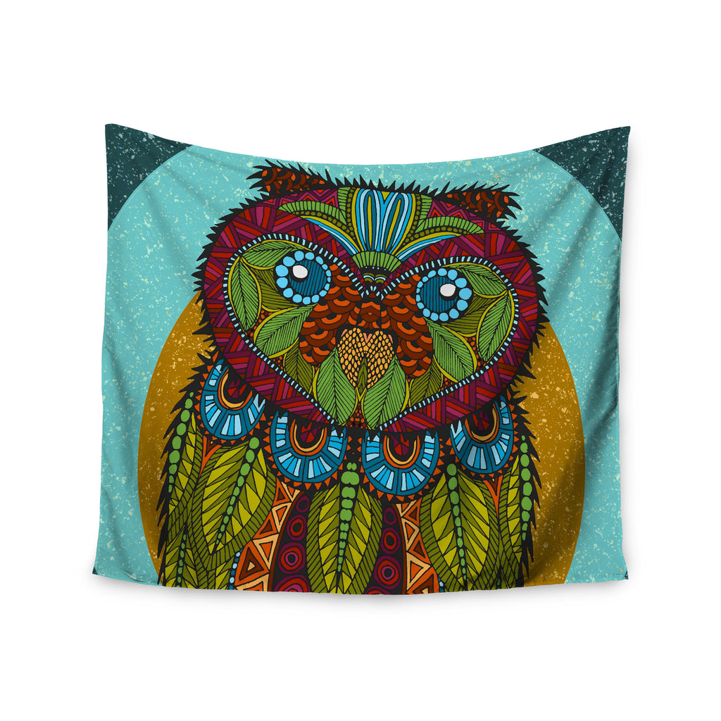 "Art Love Passion ""Owl"" Teal Multicolor Wall Tapestry - KESS InHouse  - 1"