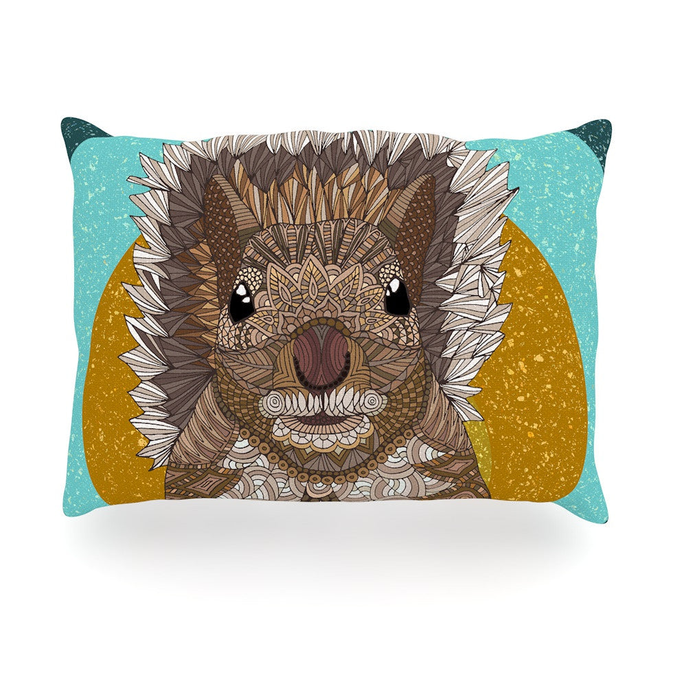 "Art Love Passion ""Squirrel"" Teal Brown Oblong Pillow - KESS InHouse"