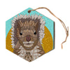 "Art Love Passion ""Squirrel"" Teal Brown Hexagon Holiday Ornament"
