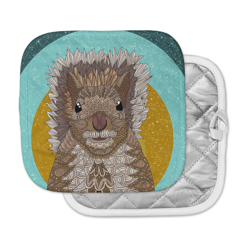"Art Love Passion ""Squirrel"" Teal Brown Pot Holder"