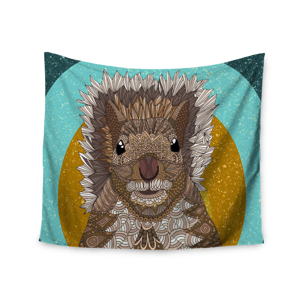 "Art Love Passion ""Squirrel"" Teal Brown Wall Tapestry - KESS InHouse  - 1"