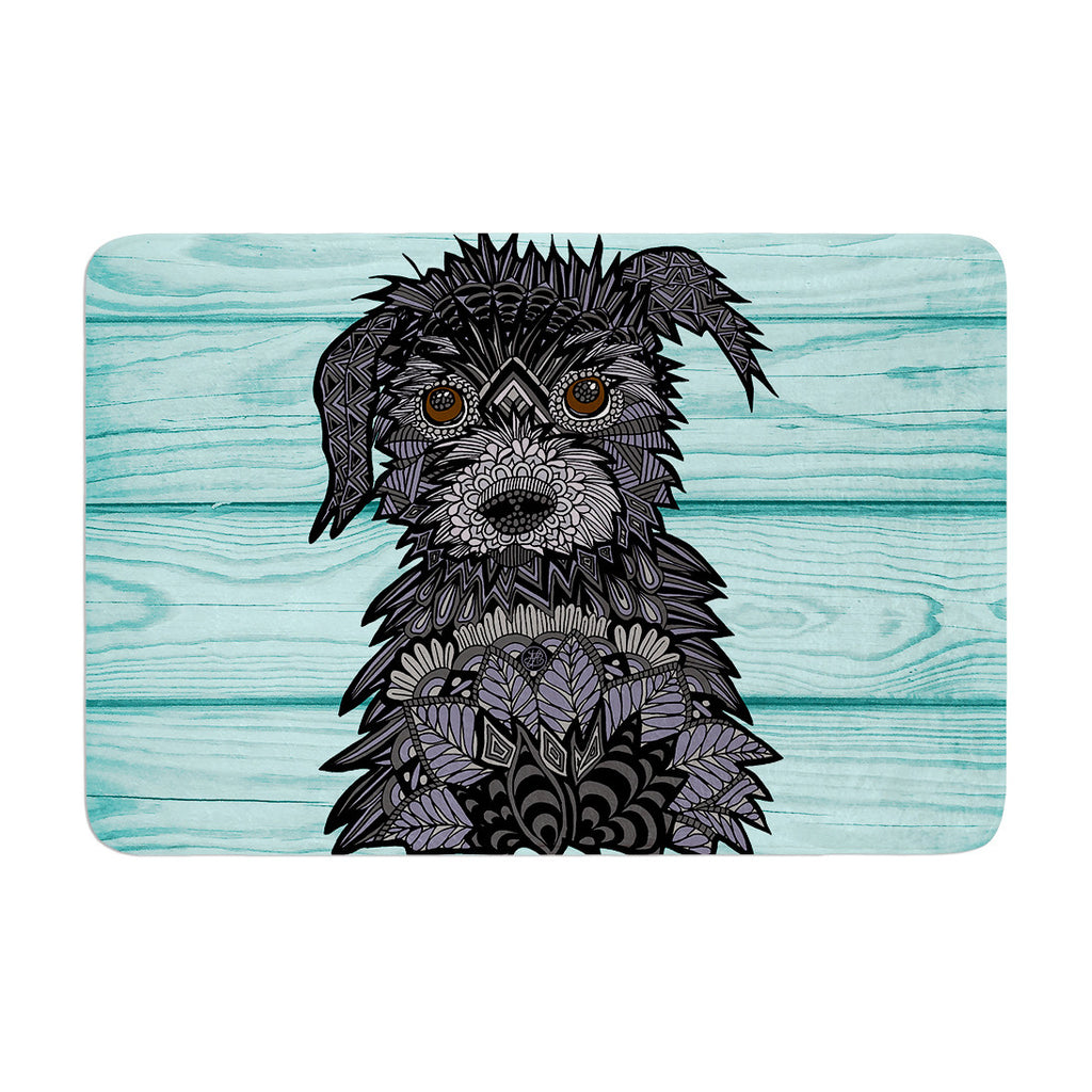 "Art Love Passion ""Little Miss Daisy"" Blue Black Memory Foam Bath Mat - KESS InHouse"