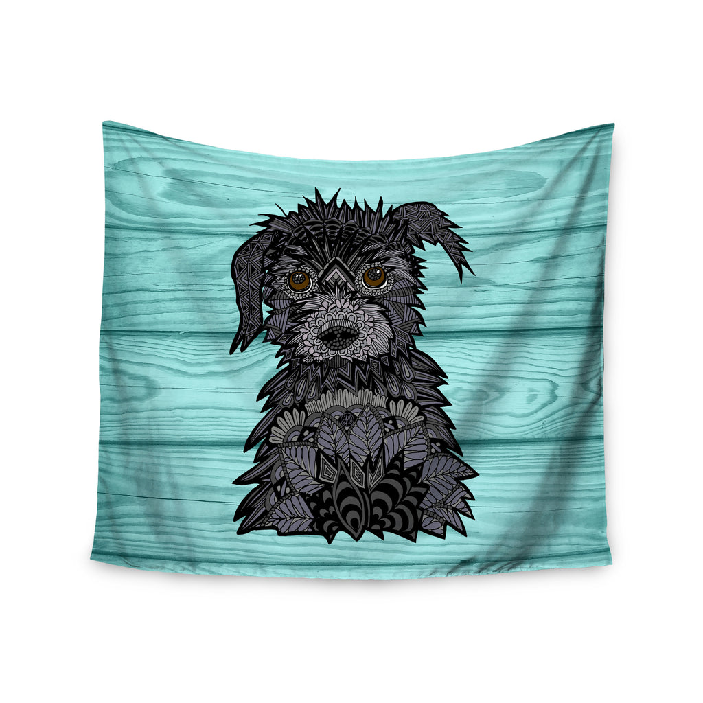 "Art Love Passion ""Little Miss Daisy"" Blue Black Wall Tapestry - KESS InHouse  - 1"