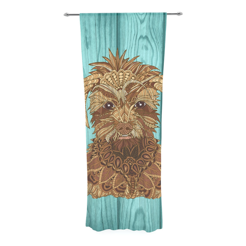 "Art Love Passion ""Gatsby the Great"" Brown Dog Decorative Sheer Curtain - KESS InHouse  - 1"