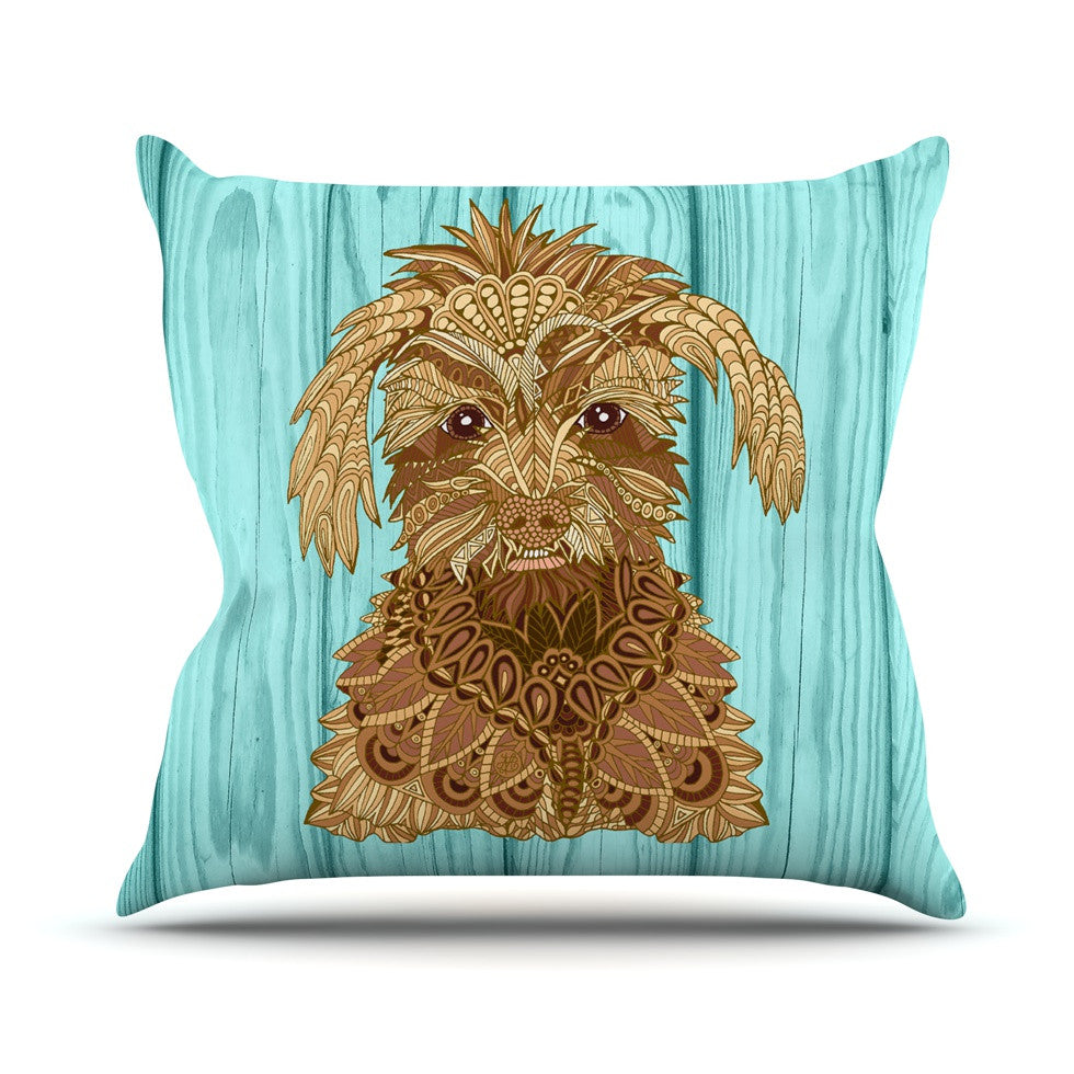 "Art Love Passion ""Gatsby the Great"" Brown Dog Outdoor Throw Pillow - KESS InHouse  - 1"