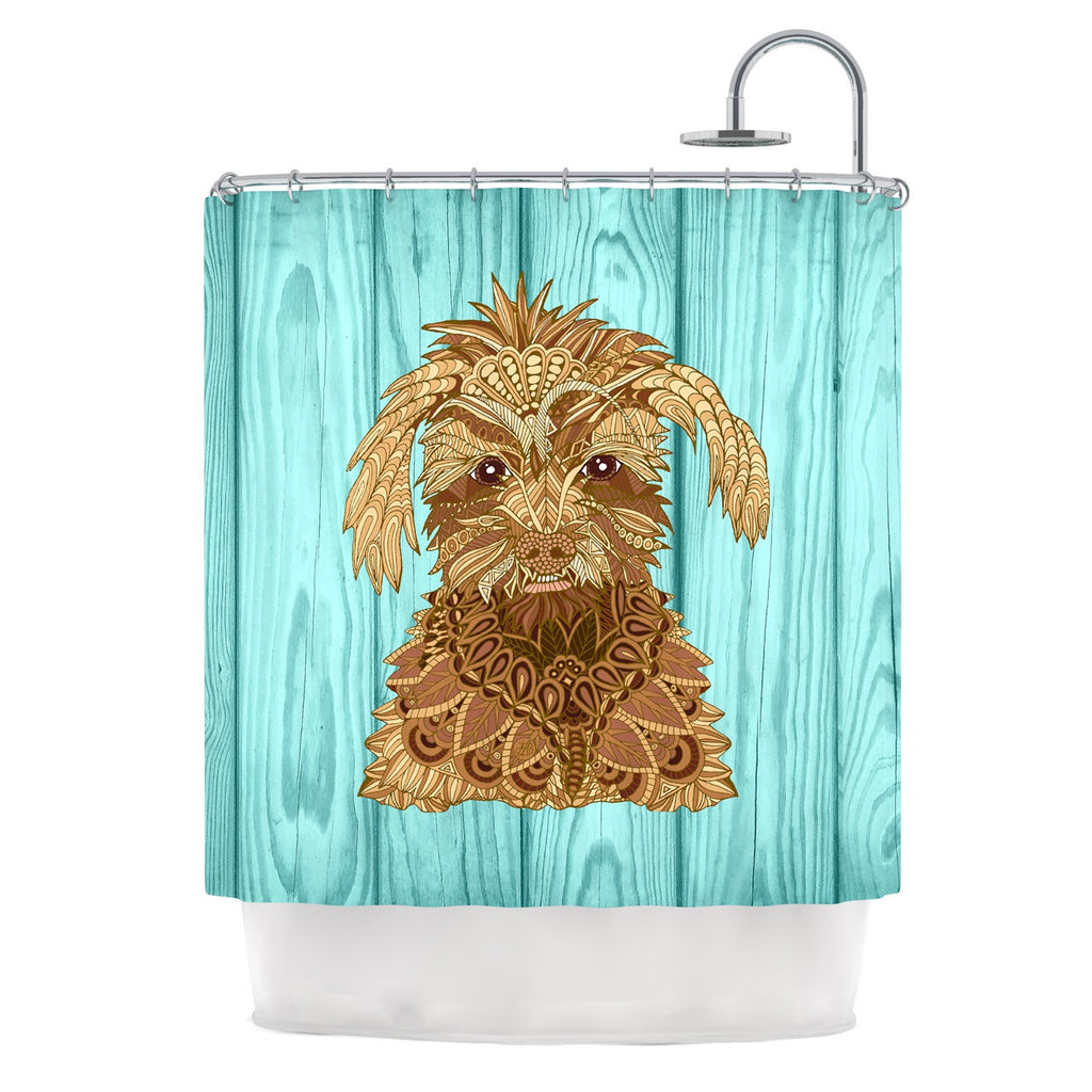 "Art Love Passion ""Gatsby the Great"" Brown Dog Shower Curtain - KESS InHouse"