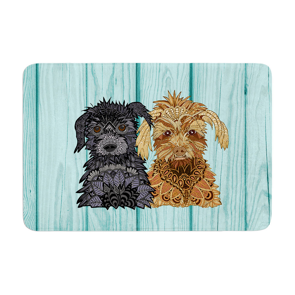 "Art Love Passion ""Daisy and Gatsby"" Abstract Puppies Memory Foam Bath Mat - KESS InHouse"