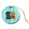 "Art Love Passion ""Daisy And Gatsby"" Abstract Puppies Circle Holiday Ornament"