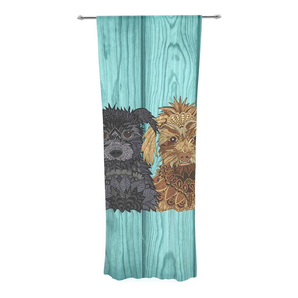 "Art Love Passion ""Daisy and Gatsby"" Abstract Puppies Decorative Sheer Curtain - KESS InHouse  - 1"