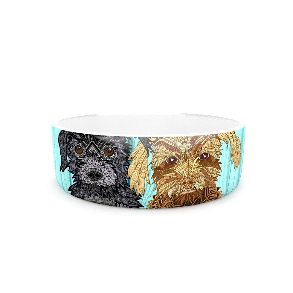 "Art Love Passion ""Daisy and Gatsby"" Abstract Puppies Pet Bowl - KESS InHouse"