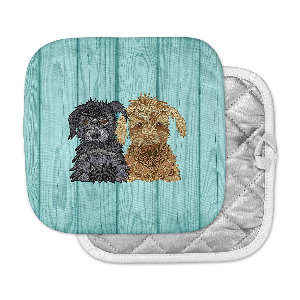 "Art Love Passion ""Daisy and Gatsby"" Abstract Puppies Pot Holder"