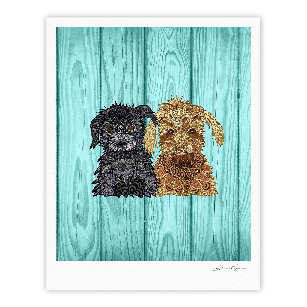 "Art Love Passion ""Daisy and Gatsby"" Abstract Puppies Fine Art Gallery Print - KESS InHouse"