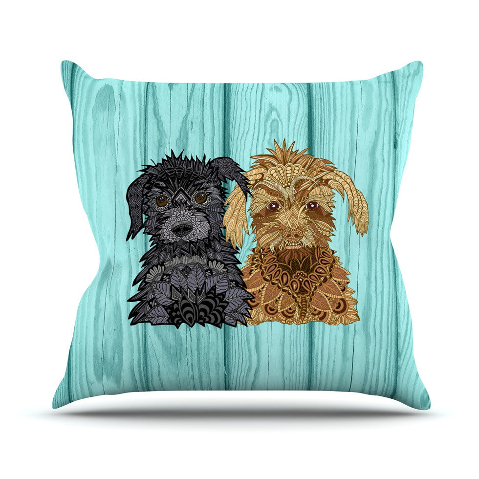 "Art Love Passion ""Daisy and Gatsby"" Abstract Puppies Outdoor Throw Pillow - KESS InHouse  - 1"