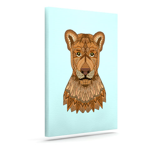 "Art Love Passion ""Lioness"" Blue Brown Canvas Art - KESS InHouse  - 1"