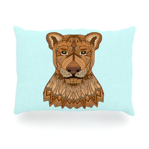 "Art Love Passion ""Lioness"" Blue Brown Oblong Pillow - KESS InHouse"