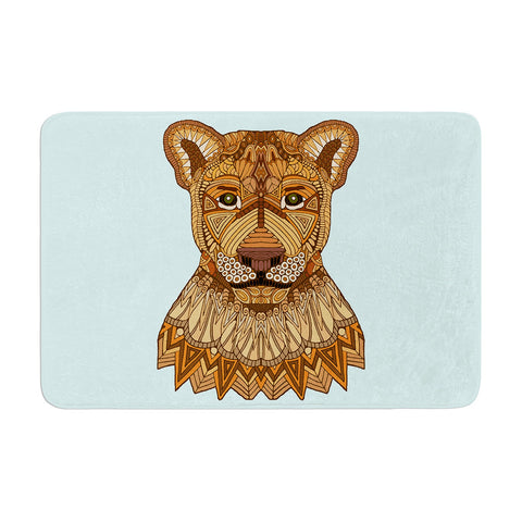 "Art Love Passion ""Lioness"" Blue Brown Memory Foam Bath Mat - KESS InHouse"