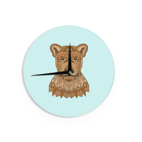 "Art Love Passion ""Lioness"" Blue Brown Wall Clock - KESS InHouse"