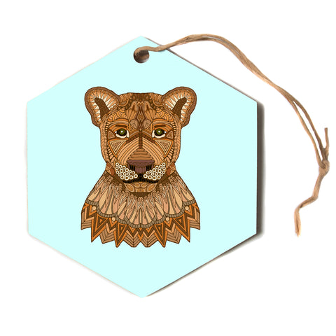 "Art Love Passion ""Lioness"" Blue Brown Hexagon Holiday Ornament"