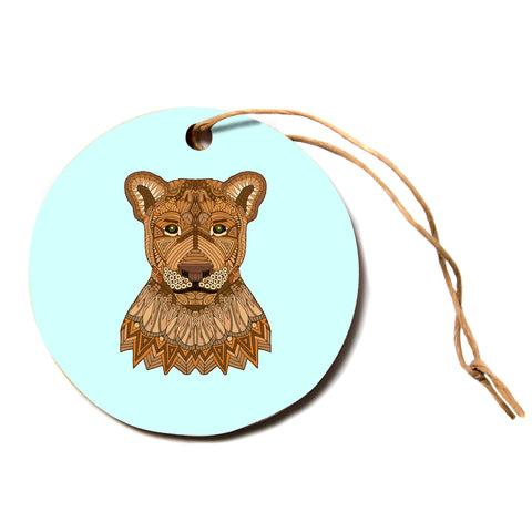 "Art Love Passion ""Lioness"" Blue Brown Circle Holiday Ornament"