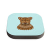 "Art Love Passion ""Lioness"" Blue Brown Coasters (Set of 4)"