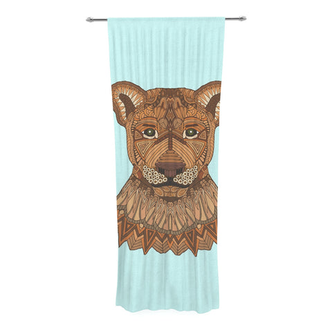 "Art Love Passion ""Lioness"" Blue Brown Decorative Sheer Curtain - KESS InHouse  - 1"