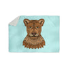 "Art Love Passion ""Lioness"" Blue Brown Sherpa Blanket - KESS InHouse  - 1"