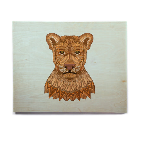 "Art Love Passion ""Lioness"" Blue Brown Birchwood Wall Art - KESS InHouse  - 1"