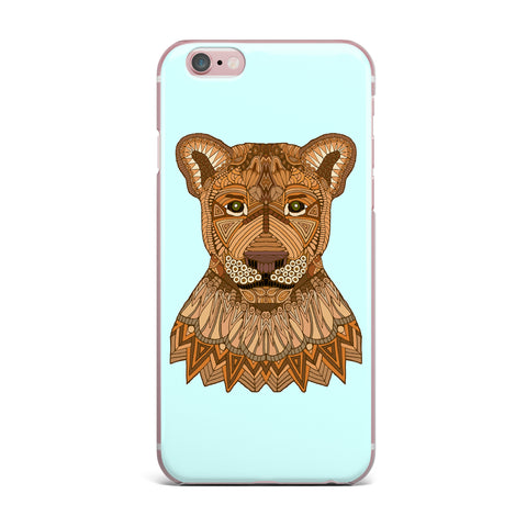 "Art Love Passion ""Lioness"" Blue Brown iPhone Case - KESS InHouse"