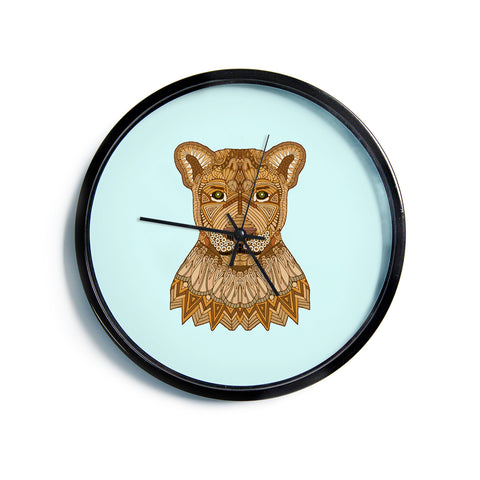 "Art Love Passion ""Lioness"" Blue Brown Modern Wall Clock"