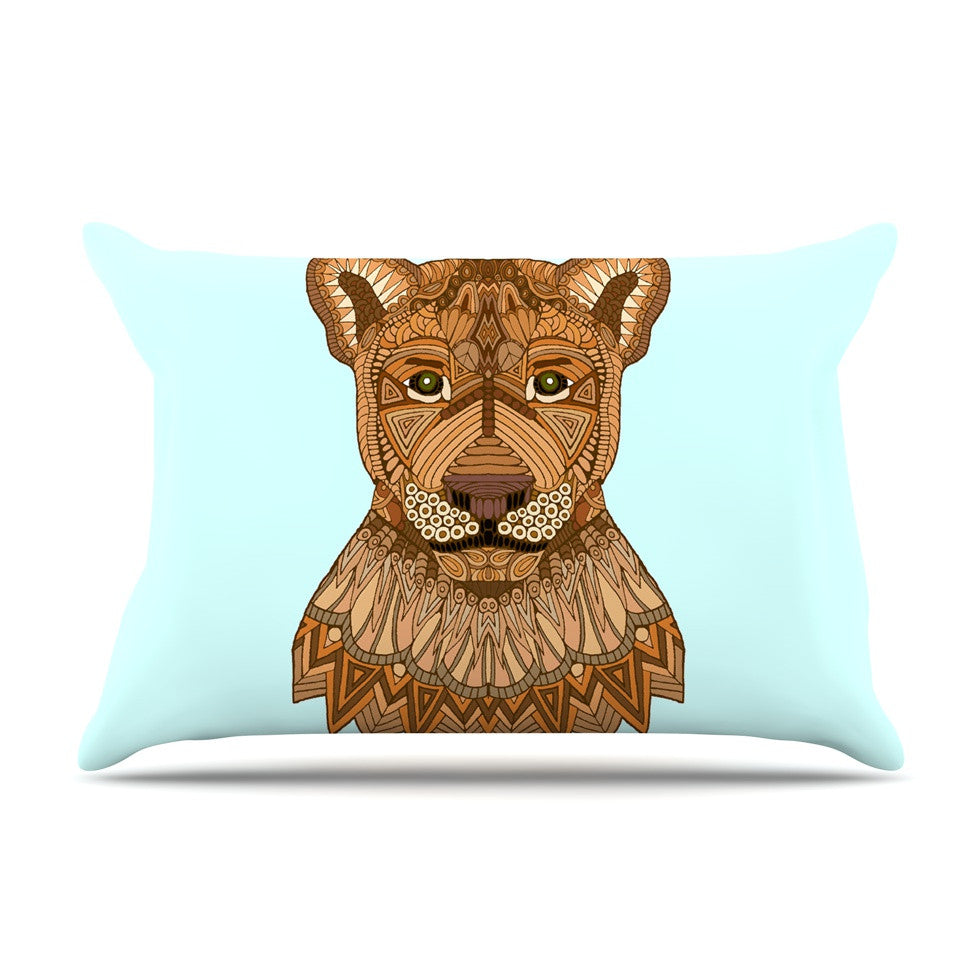 "Art Love Passion ""Lioness"" Blue Brown Pillow Sham - KESS InHouse  - 1"
