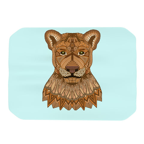 "Art Love Passion ""Lioness"" Blue Brown Place Mat - KESS InHouse"