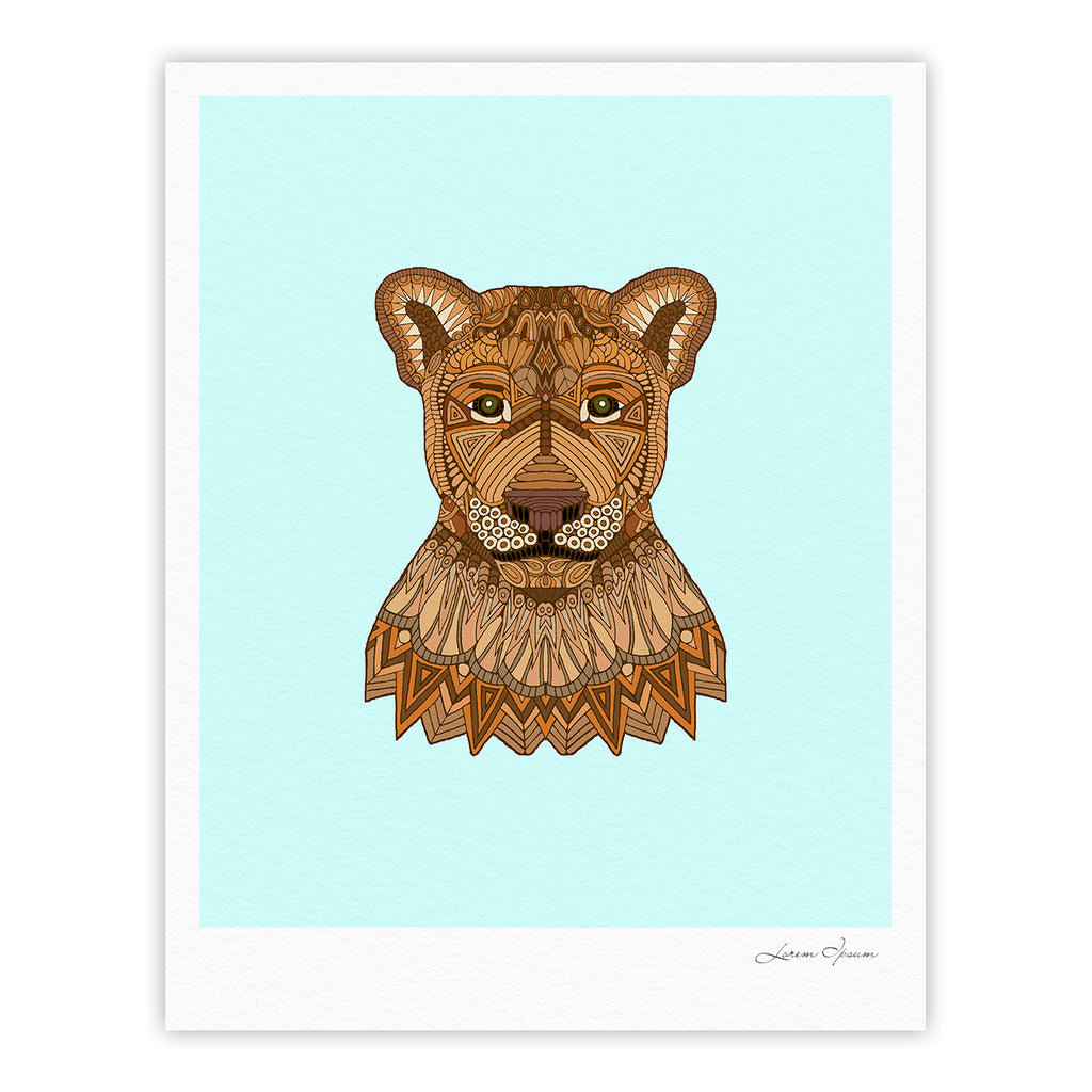 "Art Love Passion ""Lioness"" Blue Brown Fine Art Gallery Print - KESS InHouse"