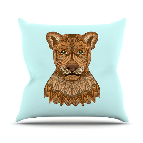 "Art Love Passion ""Lioness"" Blue Brown Outdoor Throw Pillow - KESS InHouse  - 1"