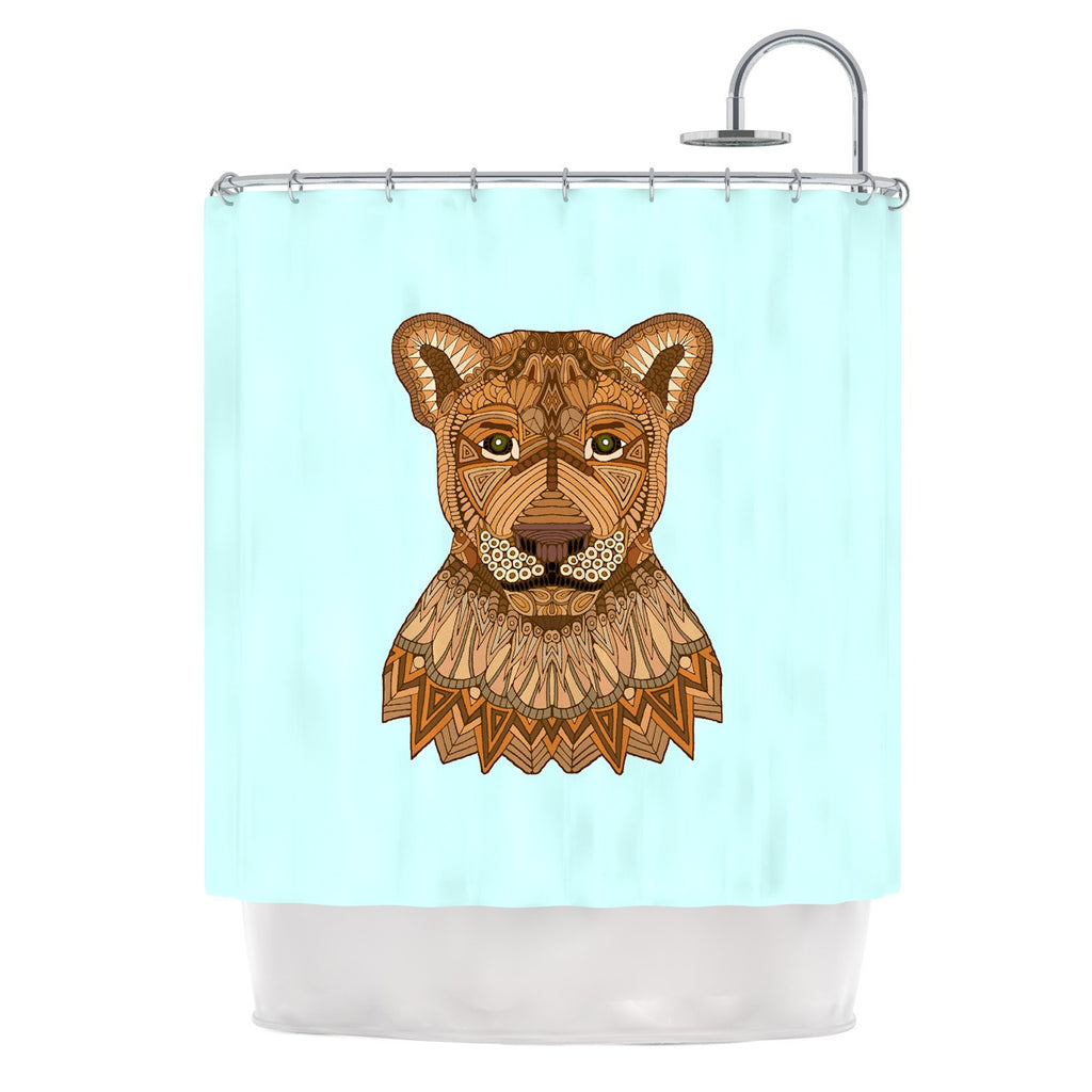 "Art Love Passion ""Lioness"" Blue Brown Shower Curtain - KESS InHouse"
