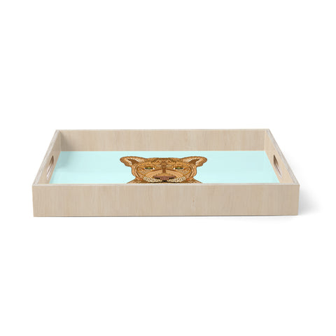 "Art Love Passion ""Lioness"" Blue Brown Birchwood Tray"