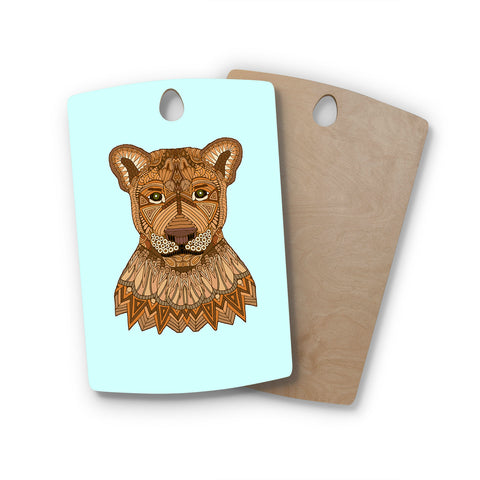 "Art Love Passion ""Lioness"" Blue Brown Rectangle Wooden Cutting Board"