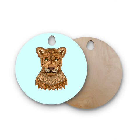 "Art Love Passion ""Lioness"" Blue Brown Round Wooden Cutting Board"