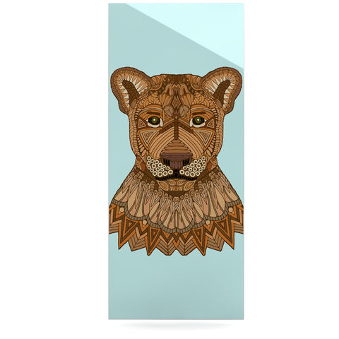 "Art Love Passion ""Lioness"" Blue Brown Luxe Rectangle Panel - KESS InHouse  - 1"